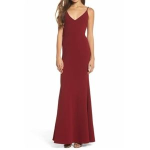 Lulu's Burgundy V-Neck Trumpet Gown Dress